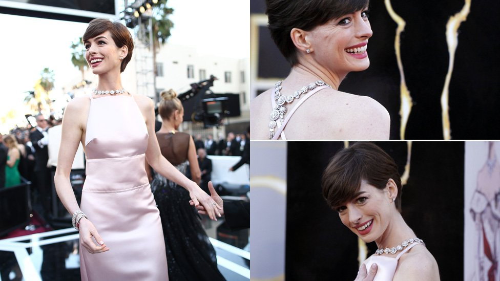 annehathaway red carpet oscars 2013