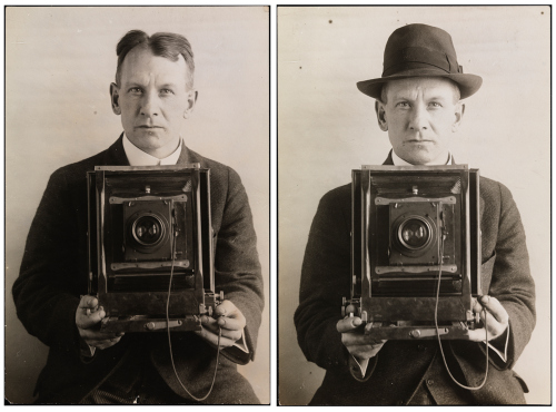 William Davis Hassler, Two Self Portraits of With and Without Hat, ca. 1917. Museum of the City of New York